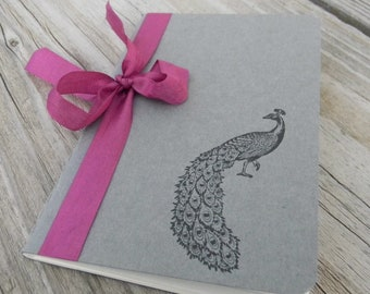 Mini Peacock with Vintage Magenta Ribbon  Journal