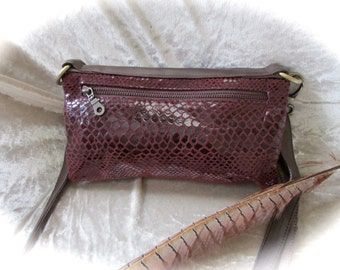 SALE ITEM!! Maroon leather clutch red leather clutch hipbag handbag handmade with shell, studs and chain detail