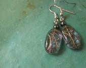 Elegant Lavender and Gold Glass Bead Earrings