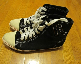 SALE Report Black Converse Like Lace Up High Tops Shoes 7 (2 for 15 dollars deal)