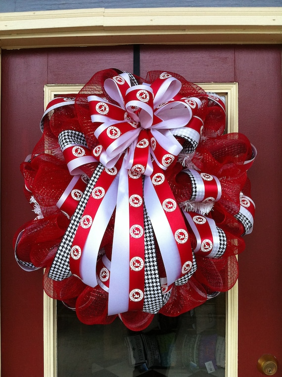 University of Alabama Crimson Tide Red and White Poly Deco Mesh Large 26-inch Door Decor Wreath with Licensed Collegiate Team Ribbon