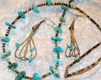 ZUNI TURQUOISE COMBO Necklace Earrings Sterling Quill c1960