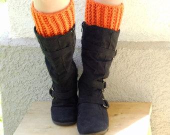 crochet boot cuffs in pumpkin, leg warmers