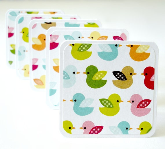 Mini note cards in colorful ducks design Set of 8 handmade mini cards gift notes lunchbox notes any occasion