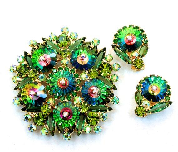 Massive Juliana D&E Margarita Rivoli Heliotrope Green Brooch and Earrings Book Pieces-