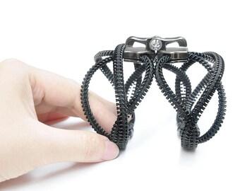 2 Steampunk zipper bracelet, zipper jewelry, blank bracelet, industrial style accessories.