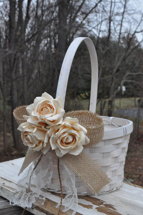 Flower Girl Basket Montreal : Burlap and lace flower girl basket rustic