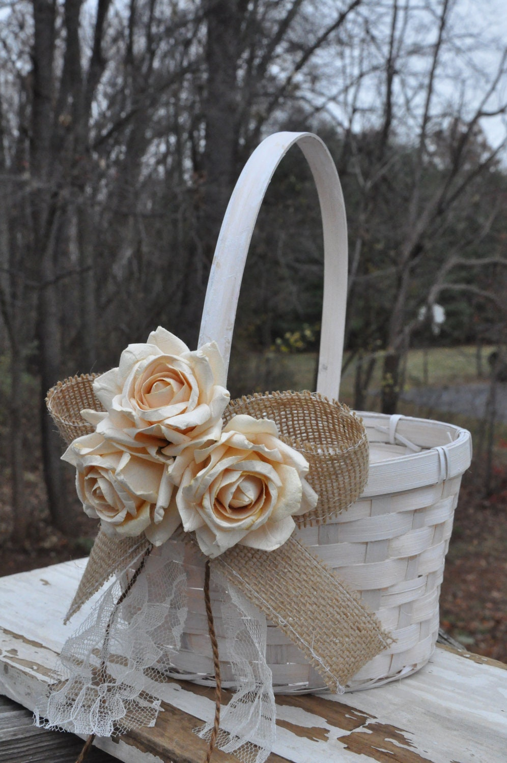 Rustic Burlap Flower Girl Baskets : Burlap and lace flower girl basket rustic