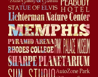 Memphis, Tennessee, Typography Poster/Bus/ Subway Roll Art 16X20-Floral Series-Memphis' Attractions Wall Art Decoration-LHA-188-C08