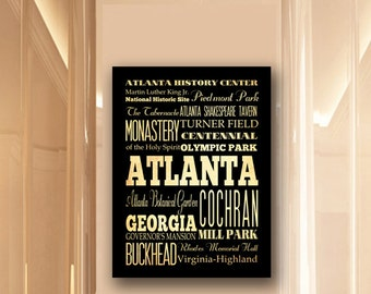 Large Typography Art Canvas of Atlanta, Georgia - Subway Roll Art 24X30 - Atlanta's Attractions Wall Art Decoration -  LHA-198