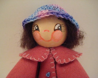 Wooden, Jointed, Clothespin doll
