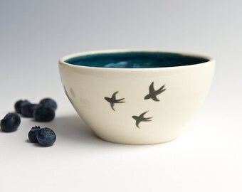 Bird Bowl in Teal - Handmade Ceramics by RossLab