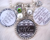 PERSONALIZED MOTHER GIFT Black & White Silver Mom Gift Grandmother Jewelry Inspirational Quote Family Necklace Children's Names Keychain