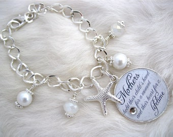 MOTHER of the BRIDE Gift Mother of the Groom Inspirational quote charm BRACELET Beach Jewelry Bottle cap Mother Grandma Godmother, Wedding
