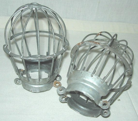 Pair Vintage Industrial Light Bulb Cages Machcine Age Wire