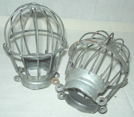 pair vintage industrial light bulb cages machcine age wire. Black Bedroom Furniture Sets. Home Design Ideas