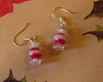 Pierced Earrings Red and White Peppermint Candy Dangles