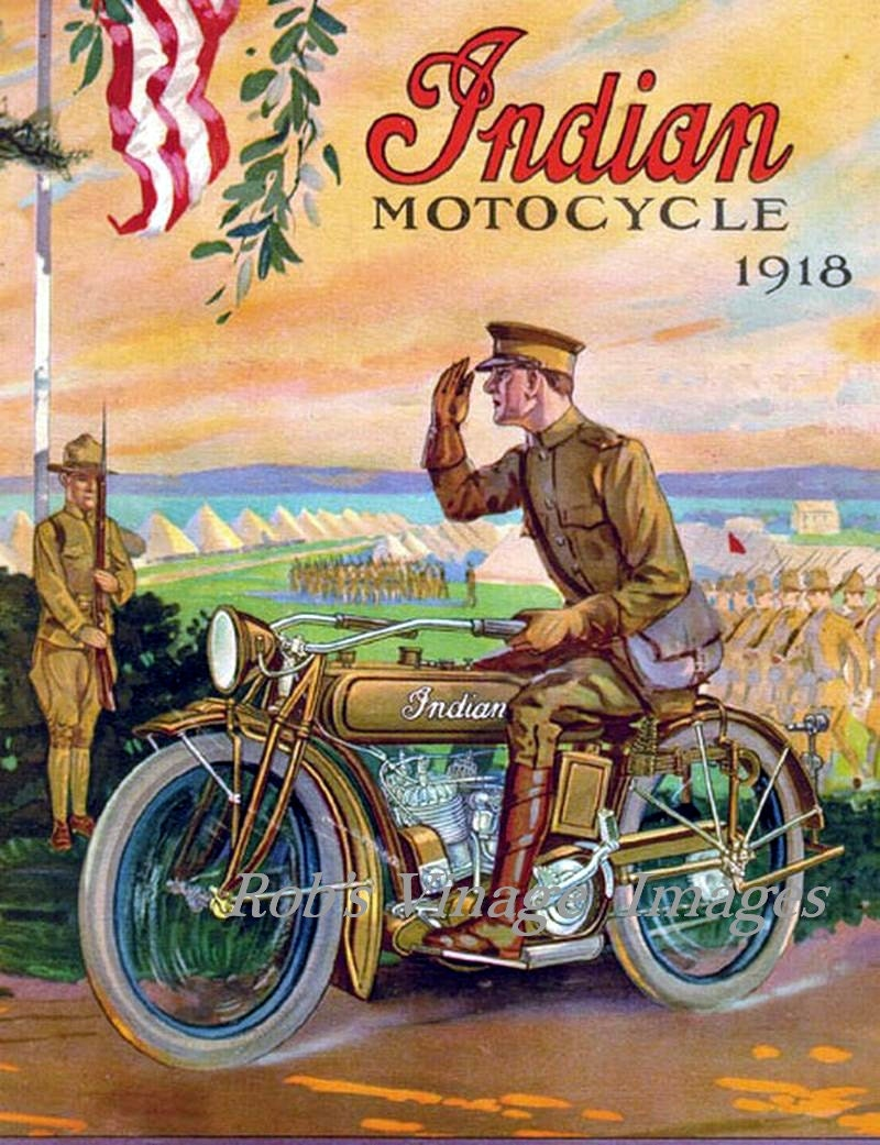 Items similar to Vintage Indian Motorcycle Dealer ...