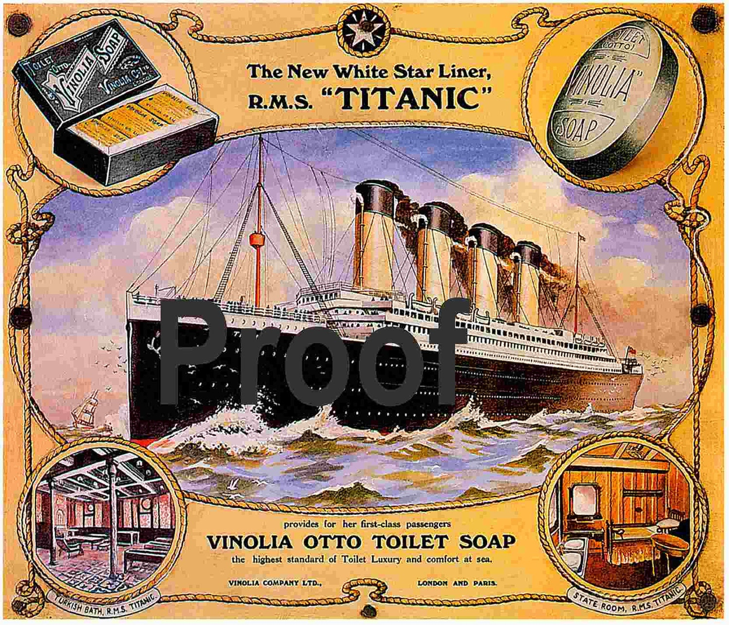 Titanic Vinola Soap Advertising poster Old by ...