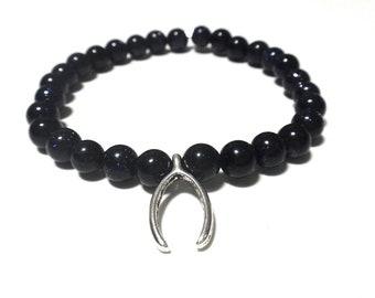 Blue Goldstone Beaded Bracelet with Silver Wishbone
