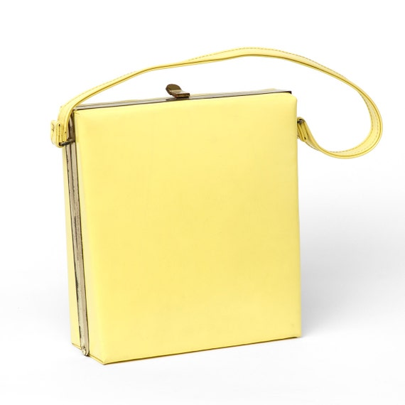 50s Vintage Purse Yellow Leather Square Mad Men