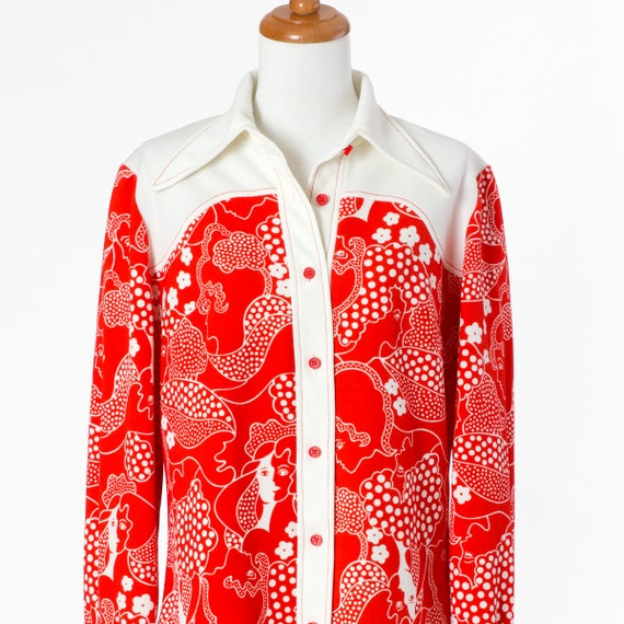 70s Wide Collar Shirt Red Top Western Girls Faces Wide Collar Medium Large