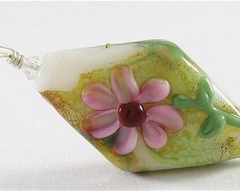 White, Pink, Green, Handmade Glass Lampwork Floral Pendant, SRAJD, DUST Team, LE Team