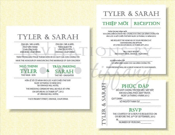 Vietnamese Wedding Invitation was very inspiring ideas you may choose for invitation ideas