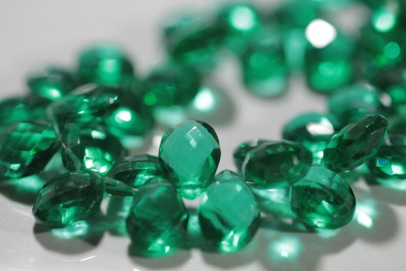 Emerald Green Quartz Faceted Pear Briolettes, 13 - 14 mm, 6 Beads GM2205FP/14/6