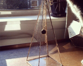 Pyramid Necklace Display Box - tall glass pyramid - jewelry box with hook - silver or copper - eco friendly