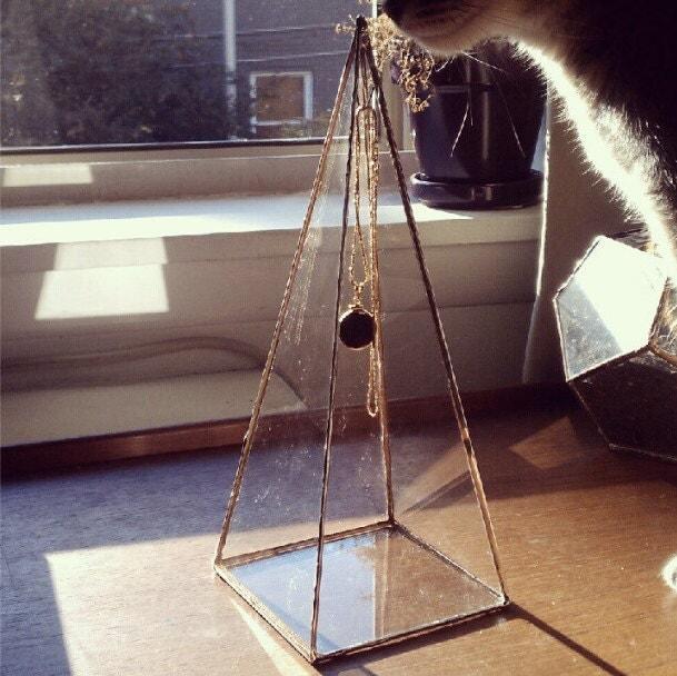 Pyramid necklace display box tall glass jewelry