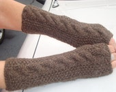 Driving Fingerless Gloves/Wrist  Warmers.Brown. Knit. Cable.Medium Brown.Gift.Wool.Long.Texting.Fall/Winter.Woman.