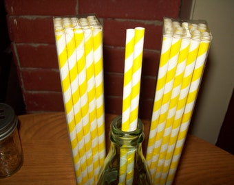 10 1/2 inches Long Retro Looking Yellow & White Striped Paper Drinking Straws   25