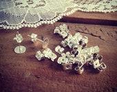 30 pcs Earnuts Ear nuts Silver Ornate Vintage style Jewelry supplies S008