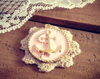 2 Pcs Anchor Charms PINK and GOLD Anchor Charm Rope Charm Round Charm Nautical Charm Vintage Style Pendant Charm Jewelry Supplies (K007)