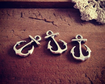 10 Pcs Anchor Charms Antique Silver Anchor Charm Nautical Charm Sailor Charm Small Pirate Vintage Style Pendant Jewelry Supplies  (BA113)