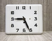 Graphic White and Black Ceramic Deco Wall Clock MADE IN FRANCE