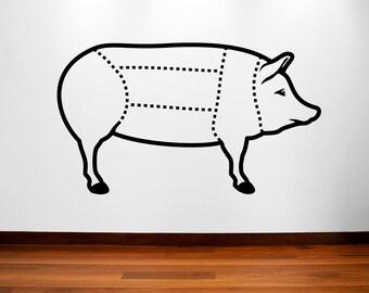 Pig butcher diagram vinyl wall decal pig, bacon, porkchops,