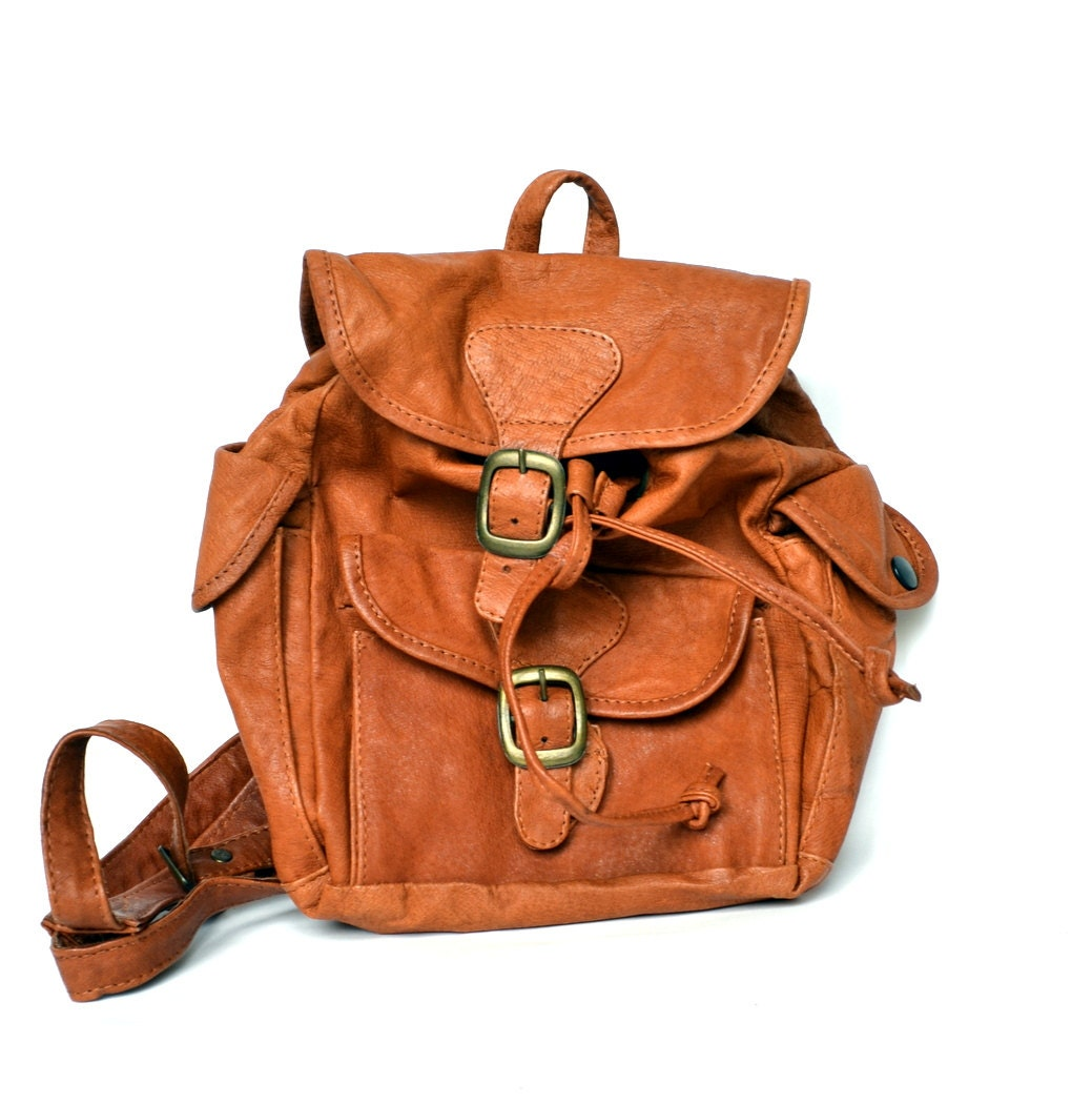 Small Brown Leather Backpack - Crazy Backpacks