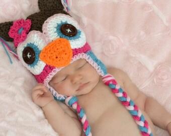 crochet owl  hat, owl hat, baby hat, newborn girl hat, crochet kids hat, custom colors
