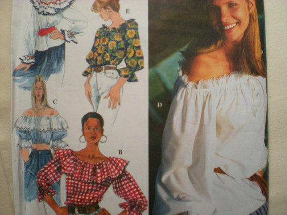 Womens Peasant Pirate Gypsy Costume Top Simplicity Sewing Pattern 9582 Size XS-Med
