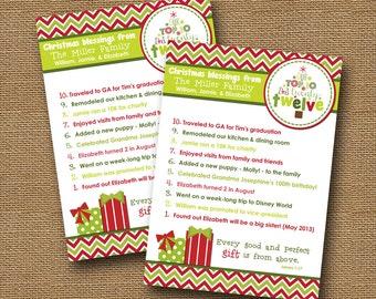 "Christmas Card Top Ten Card DIY PRINTABLE ""Top 10"" Christian Scripture Bible Verse Christmas Card"