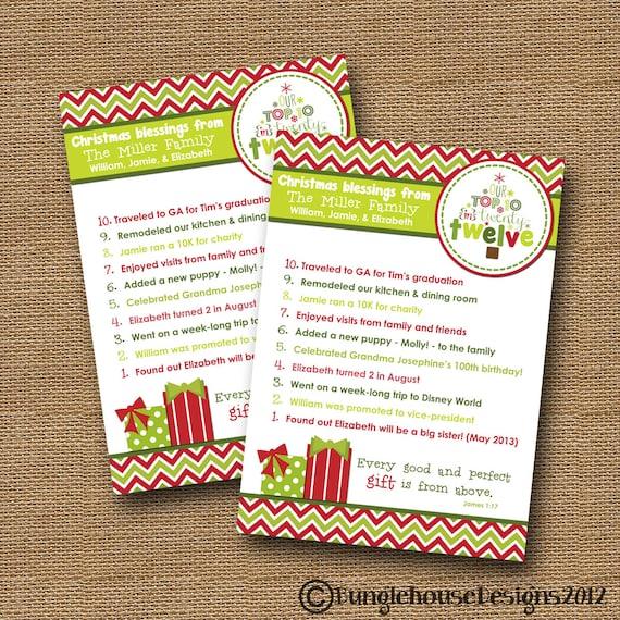 Christmas Card Top Ten Card DIY PRINTABLE By