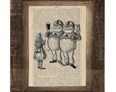 Drunken TweedleDee and TweedleDum Advertisement Print on an Antique Ucycled Bookpage