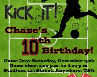 Soccer Birthday Party Invitation - Red
