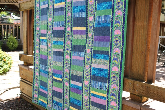 Modern Lap Quilt in Beautiful Unique Colors, perfect for brightening a gloomy evening, Handmade in mint green, blue, purple, pink, turquoise