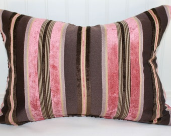 IN STOCK / Brown and Raspberry Chenille Stripe Pillow Cover / 14 X 18 / Plum basket-weave back