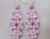 Beaded Earrings, Pink crystal