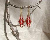 """Beaded earrings. '""""Dreams of Red""""'"""