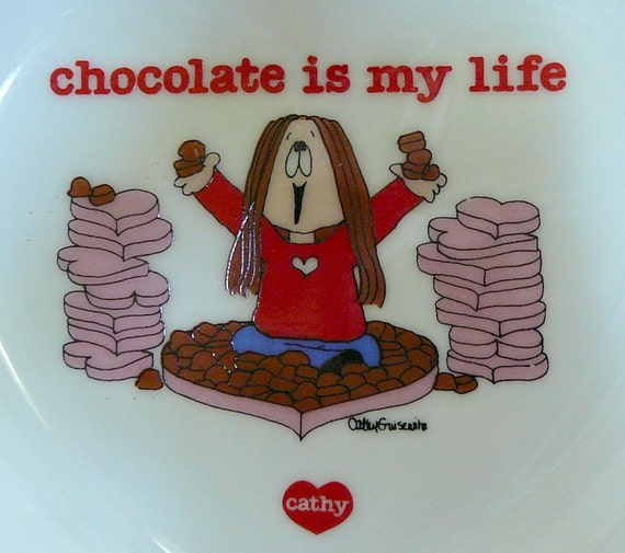 "SALE 1983 ""Chocolate Is My Life"" Cathy Comic Cartoon Heart Plate- Collectible Porcelain Made in Japan Trinket Dish Valentine Valentine's"